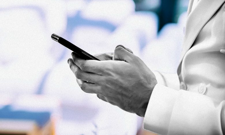 older man using dating app